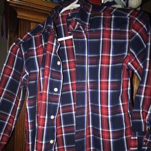 Boys 8 nautica dress button up shirt . Plaid